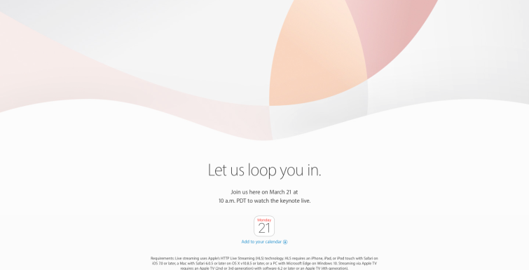 Apple Special Event. March 21, 2016